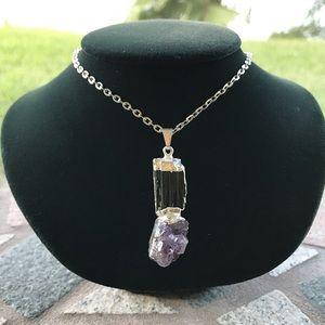 Genuine amethyst cluster black tourmaline necklace